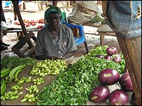 Fruit and vegetable vendor at Kitgum market