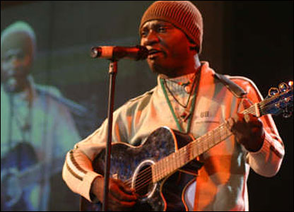 Achille Mouebo performing at the Pan-African Festival of Music in Congo