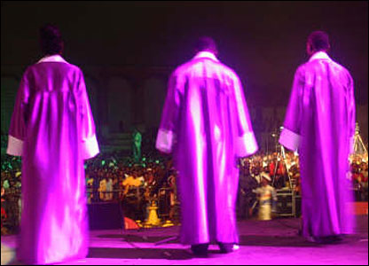 Gospel musicians in purple perform at the Pan-African Festival of Music in Congo