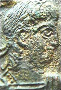 Detail from a Roman coin found on the Uists. Picture courtesy of Access Archaeology