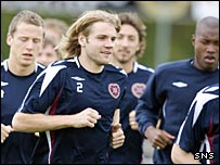 Hearts in pre-season training on Thursday