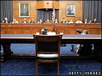 The panel faced an empty witness chair after Harriet Miers failed to appear