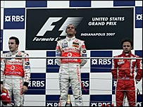 Lewis Hamilton at the top of the 2007 US Grand Prix podium