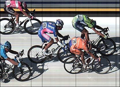 Italy's Filippo Pozzato crosses the line in first place at the end of stage five