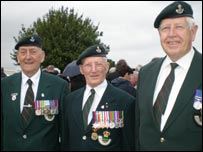 Alfred Mason, Dick Atkinson, and Colin Armstrong of the Durham Light Infantry Association