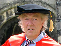 Sir Michael Gambon after receiving his honorary degree
