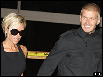 David and Victoria Beckham arriving in LA