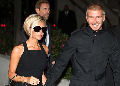 David and Victoria Beckham arrive at Los Angeles airport