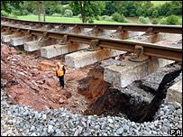 Landslide damage to Severn Valley Railway