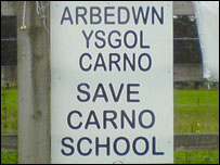 Save Carno school sign