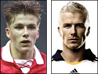 David Beckham in 1993 and 2007