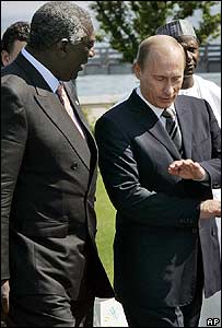 Russian President Vladimir Putin with Ghanaian President John Kufuor at the G8 Summit in Heiligendamm, Germany, in June 2007