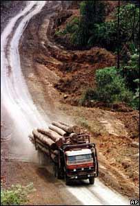 A logging truck in Sarawak