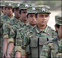 Female fighters of the Tamil Tigers in the north of Sri Lanka