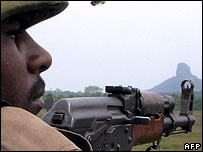 Sri Lankan soldier in the Thoppigala jungle area