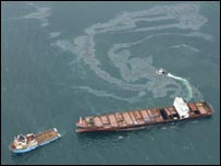 Oil leaking from the MSC Napoli. Picture courtesy of Maritime and Coastguard Agency