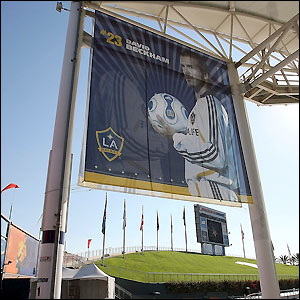A poster of Beckham at the Home Depot Center