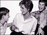Portrait of Princess Diana with princes William and Harry by John Swannell
