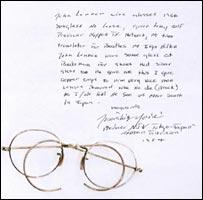 John Lennon glasses and letter of provenance