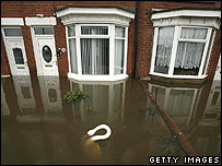High water levels are seen outside houses in Toll Bar near Doncaster, England