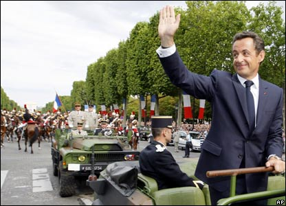 Nicolas Sarkozy on the Champs Elysees