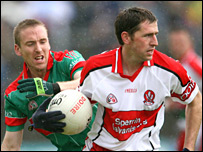 Enda Muldoon (right) had a superb match for Derry