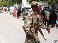 Somali government troops patrol the capital Mogadishu