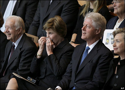 From left to right: Former US President Jimmy Carter, First Lady Laura Bush, Former President Bill Clinton and Sen Hillary Clinton during the funeral service in Austin