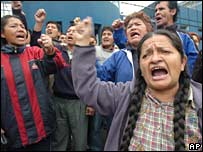 Striking teachers in Lima. Photo: 13 July 2007
