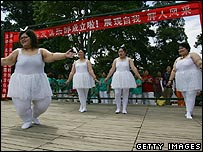 The obese girl band named Qianjin at a club for obese people in Beijing