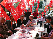 Gunduz Aktan, MHP candidate, and supporters