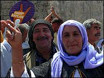 Pro-Kurdish Hasip Kaplan campaigners