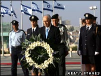 Shimon Peres laying wreath