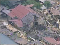 Damaged houses in Japan