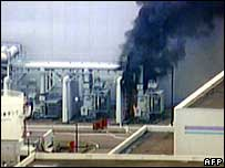 TV picture of fire at Kashiwazaki reactor