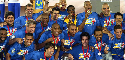 The Brazil squad celebrate their Copa America triumph
