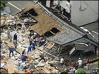 Casas afectadas por el terremoto en Japón