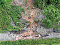Damage caused by June's landslide at Severn Valley Railway