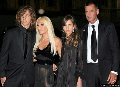 Donatella Versace (second left) with her children Daniel and Allegra, plus ex-husband Paul Beck