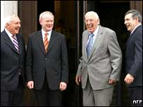 Bertie Ahern, Martrin McGuinness, Ian Paisley and Gordon Brown