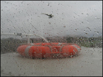 Rain hitting the forth hovercraft