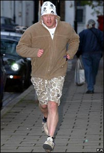 Boris Johnson out jogging