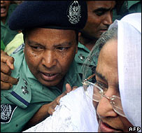 Sheikh Hasina being arrested