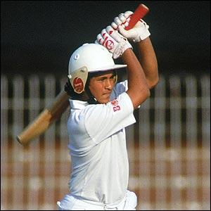 Tendulkar on his Test debut