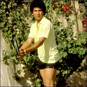 Tendulkar playing tennis