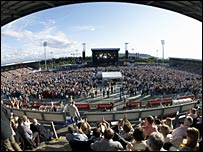 Crowds at the Caledonian Stadium. Picture from InvernessFest