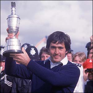 Seve celebrates with the Claret Jug at Royal Lytham in 1979