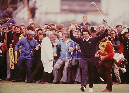 Ballesteros heads for victory in the 1979 Open at