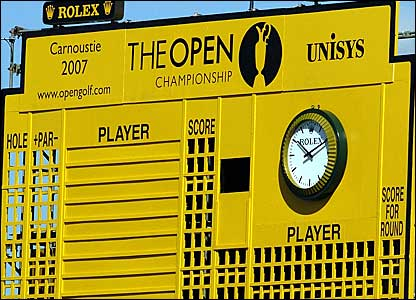 The Open scoreboard