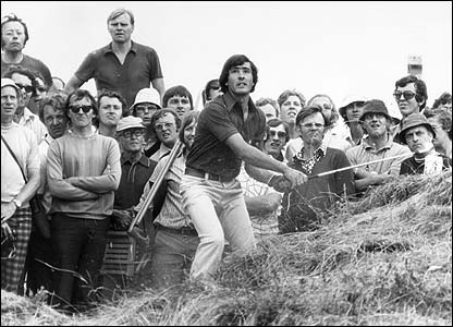 Severiano Ballesteros pictured in the rough at the Open at Royal Birkdale